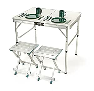 Aluminum lightweight folding camp table with stools by trademark innovations - Lightweight camping tables ...