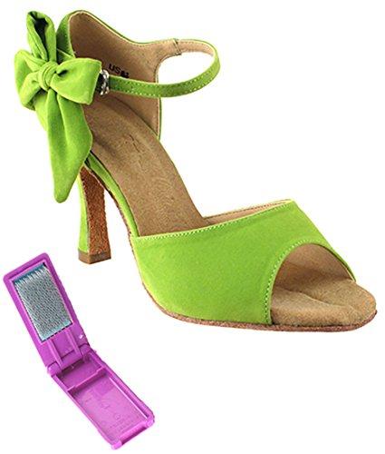 Scarpe Da Ballo Per Ballare Latino Da Tango Molto Fine Per Le Donne Sera7010 Tacco Da 2,5 Pollici + Fascio Di Spazzole Pieghevole Verde