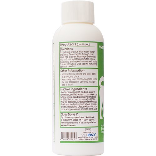 VETiONX-Defendex-All-Natural-Flea-Tick-and-Mange-Shampoo-for-Dogs-and-Cats-Homeopathic-Pet-Shampoo-Naturally-Washes-Away-Flea-Tick-Mange-and-Scabies-Infestations-Addresses-All-Stages-of-Life-Cycle-Inc