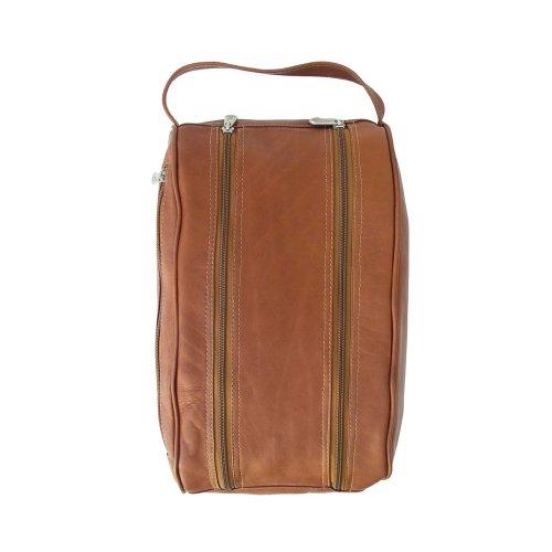 Leather Shoe Bag - Piel Leather Double Compartment Shoe Bag, Saddle, One Size
