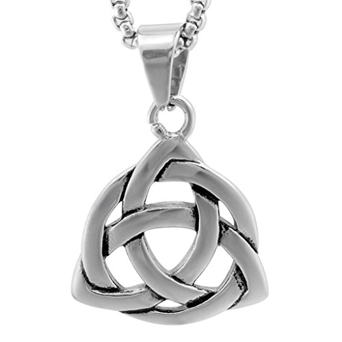 Qiao La Irish Celtic Trinity Knot Triangle Pattern Lucky Weave Sliver Steel Pendant Necklace (Celtic Pattern Weave)