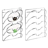 mDesign Kitchen Cabinet Mounted Storage Rack for Pot Lids, Pan Lids - Pack of 2, Chrome