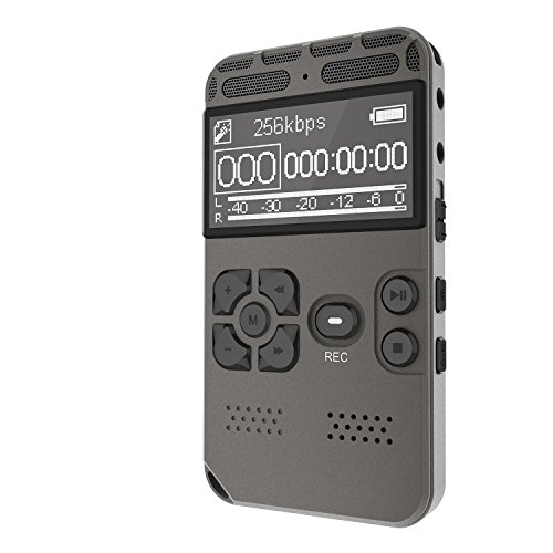 Digital Voice Recorder 8GB Audio Sound Recorder, Portable Rechargeable Voice Activated Rapid Recording for Meeting, lectures with MP3 Player Up to 36 Hrs Recording Time by Smilism