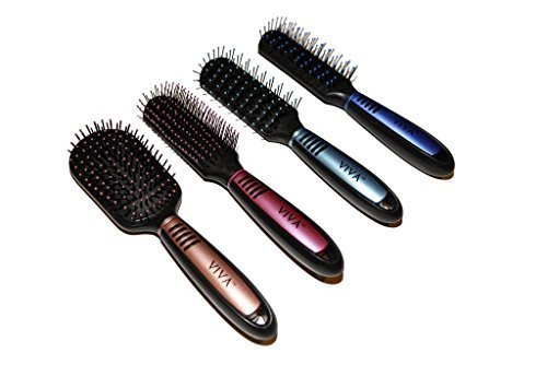 Viva Pastel and Black Professional Hair Brush Set (4 Pack)