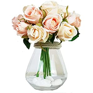Mistari 12 Heads Plastic Artificial Flowers Roses Fake Silk Flowers Home Decorative Party Wedding (Champagne Color) 5