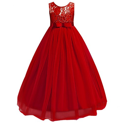 IBTOM CASTLE Big Girl Vintage Lace Junior Bridesmaid Dress Dance Ball Christening Pageant Maxi Gown Floor Long for Party Wedding Red -