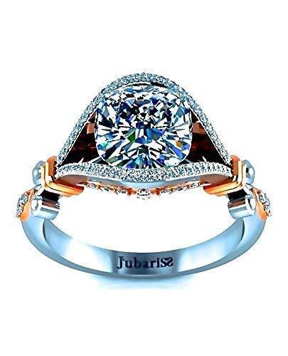 (1.42 Ctw GIA Cushion Diamond Engagement Ring F-G Foliage Tension Set Unique Two Tone White & Rose Gold Custom Organic Vine Boho Chic Designer Fine Jewelry)