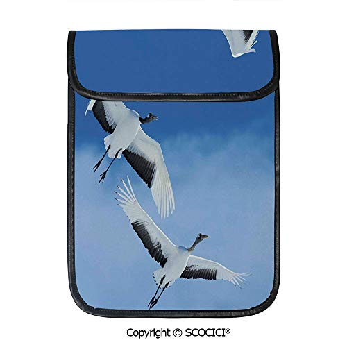 SCOCICI iPad Pro 12.9 Inch Sleeve Tablet Protective Bag Two Red Crowned Crane with Open Wings Flying in Clear Sky Japanese Animal Duo Custom Tablet Sleeve Bag Case ()