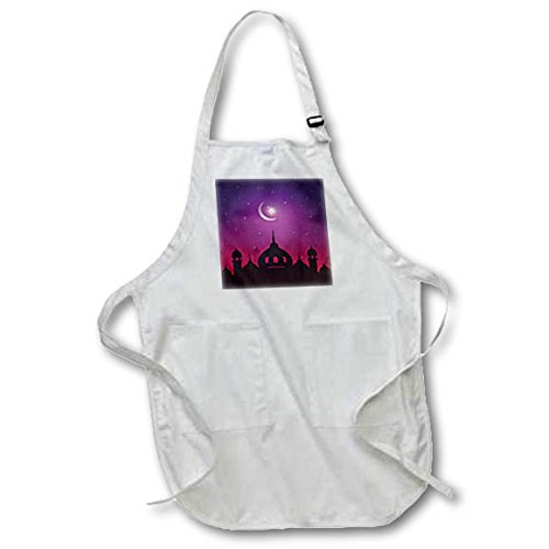 3dRose Sven Herkenrath Religion - Mosque Islam Muslim Islamic with Moon and Purple Background - Full Length Apron with Pockets 22w x 30l (apr_280333_1) by 3dRose