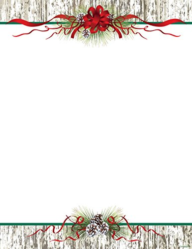 Geographics Pinecones Ribbon Christmas Letterhead, 8.5 x 11 Inches, Design, 80-Sheet Pack (49737W) (Paper Christmas Geographics)