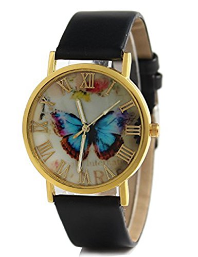 Womens Butterfly Style Leather Band Analog Quartz Wrist Watch Black - 4