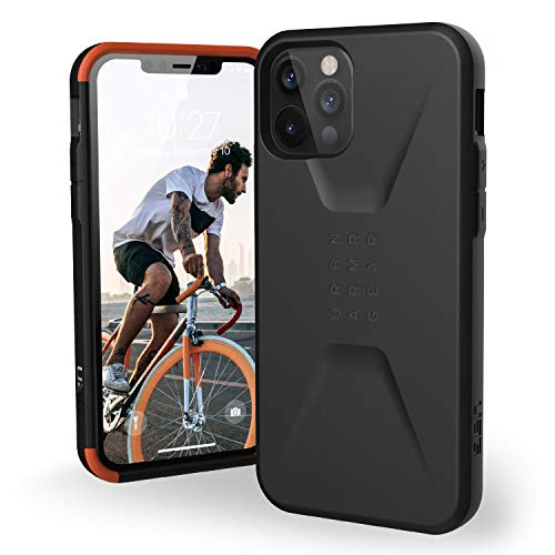 Urban Armor Gear UAG iPhone 12/12 Pro 5G- (6.1 inch) Sleek Ultra-Thin Shock-Absorbent Civilian Protective Cover, Black