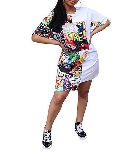 Remelon Womens Casual Short Sleeve Comics Letter Print Asymmetrical Loose Tunic T-Shirt Mini Dress White XXL