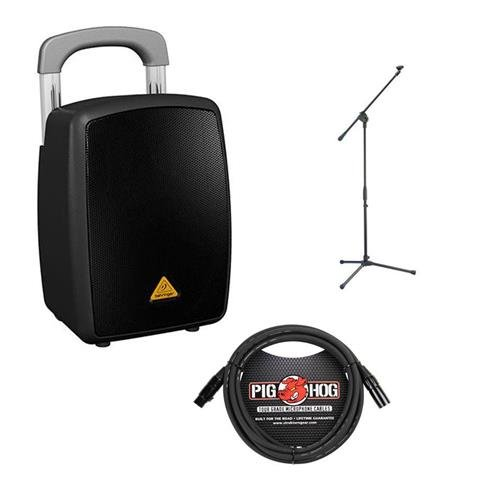 Behringer Europort MPA40BT-PRO All-in-One Portable40-Watt PA System with Bluetooth Connectivity, Battery Operation and Transport Handle - Bundle with Samson MK10 LW Boom Mic Stand, 15' XLR Mic Cable