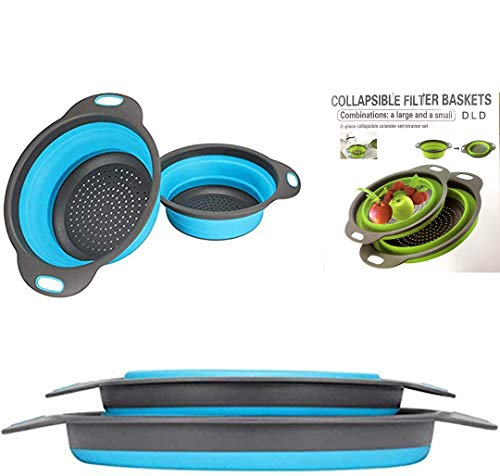 """Foldable colander, 2 foldable kits, DLD food grade silicone kitchen filter, space-saving foldable filter colander, size 8 """"inches, 9.5""""-inches"""