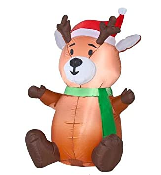Gemmy Airblown Inflatable Baby Reindeer Sitting Wearing Santa Hat And Green  Scarf   Indoor Outdoor Holiday
