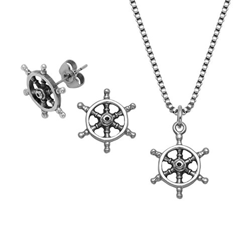 (Stainless Steel Ship's Wheel Pendant, 18