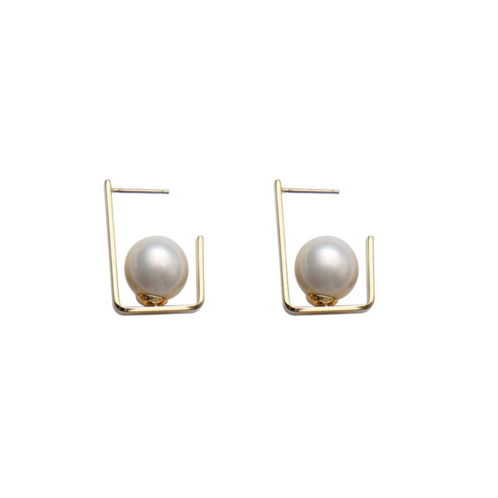 Women Girls Geometric Earrings Artificial Pearls Stud Earrings Bohemian Fashion Jewelry Gifts Alloy Drop Earring