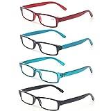 Reading Glasses Set of 4 Fashion Unisex Readers Men and Women Color Glasses