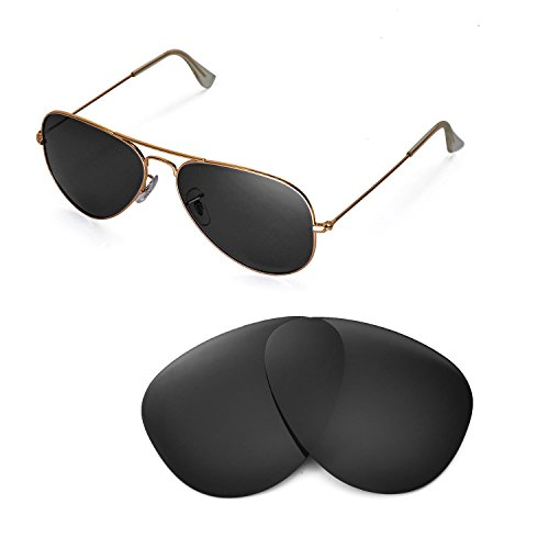 Walleva Replacement Lenses for Ray-Ban Aviator Large Metal RB3025 58mm Sunglasses - Multiple Options Available(Black - - Lenses Aviator Ray Ban Replacement