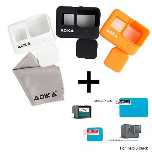 [해외]ADIKA 실리콘 + 스크린 보호 키트 (블랙 / 오렌지 / 화이트) 프레임 실리콘 케이스 커버 스킨 Gopro 용 프레임 히어로 5 + Gopro 영웅 5 스크린 pr 용/ADIKA Silicone + Screen Protection Kit (Black/Orange/White) The Frame Silicone Case Cover ...