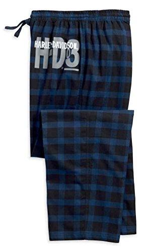 Harley-Davidson Men's Plaid Flannel Lounge Pants, Black & Blue 97788-18VM - Pants Harley Lounge Davidson