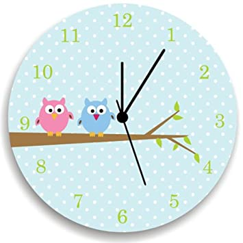Amazon.com: Nursery Wall Clock with Owls, Blue Background with with ...