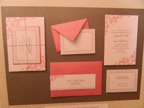 Mara Mi 30 ct Invitation suite Formal Invitation Kit Wedding Graduation - Deep Rose/Coral & white (Coral Invitations)