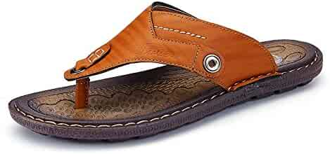 34fe155ee96560 Ruiyue Thong Flip Flops Shoes,Men s Casual PU Leather Beach Slippers  Handwork Suture Non-