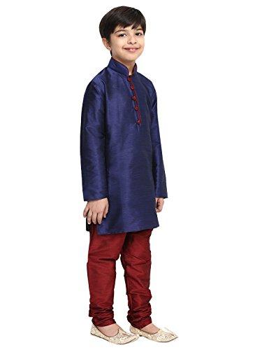 Royal SOJANYA Big Boys Dupion Silk Blend Kurta Churidaar Set 10 Blue