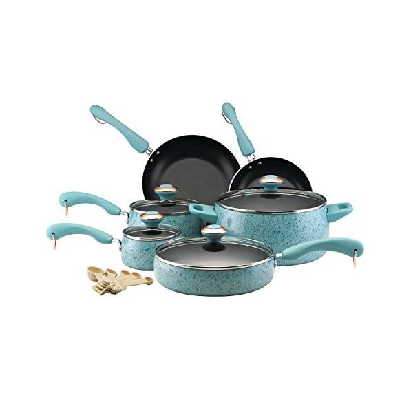 Paula Deen Signature Nonstick Cookware Pots and Pans Set, 15 Piece, Aqua Speckle 1