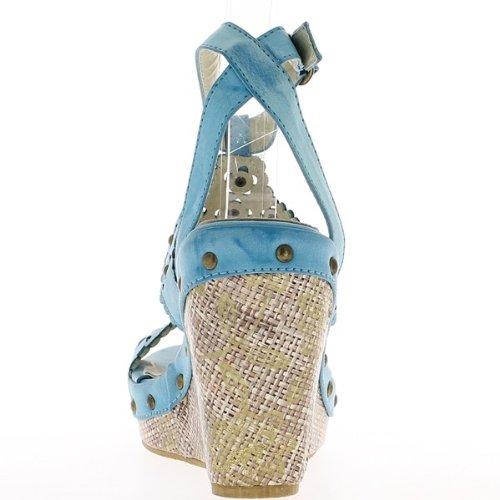 Blu zeppa sandali tacchi 11 cm e 3,5 cm vassoio