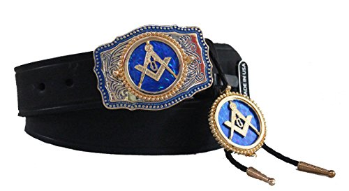 Black Custom Masonic Square and Compasses 1 1/2 inch Dress Belt with Buckle and Matching Bolo Set Made in the USA Size 46 - Custom Made Belt Buckles