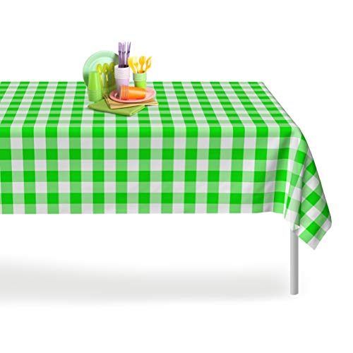 Green Checkered Gingham 6 Pack Premium Disposable Plastic Tablecloth 54 Inch. x 108 Inch. Rectangle Table Cover By -