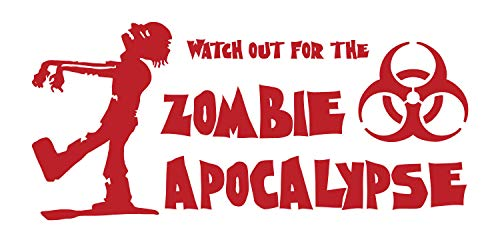 BellaCross A Vinyl Wall Decal Displaying a Walking Dead Zombie and a Hazardous Toxic Warning Symbol with The Words - Watch Out for The Zombie Apocalypse - RED -