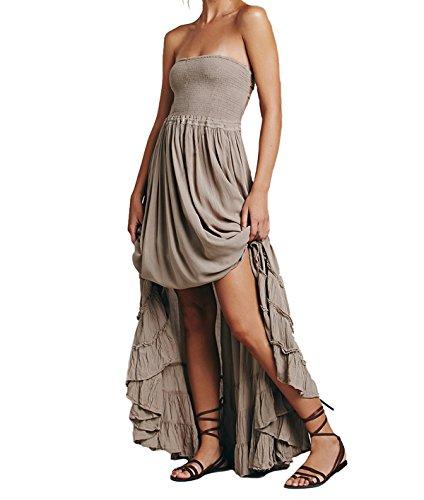 CA Mode Women's Halter Bridesmaid Evening Formal Gown Prom Maxi Long Dress Grey (Halter Ruffled Evening Gown)