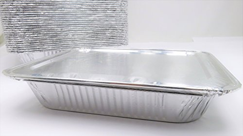 Combo Pack- Aluminum Half Size Steam Table- Deep- with Foil Lid #4200L (100) by Handi-Foil USA