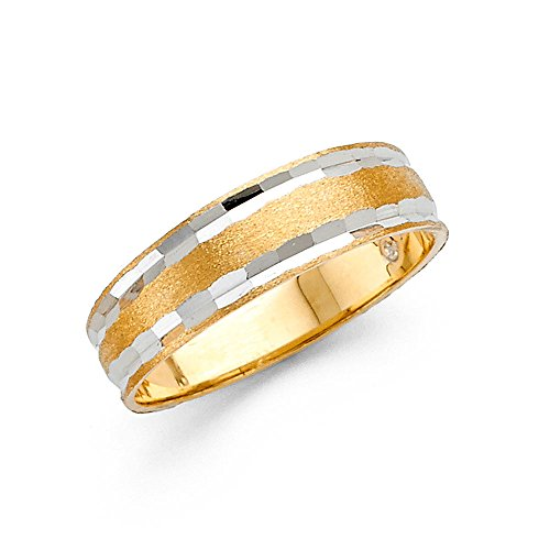 (Ioka - 14K Two Tone Solid Gold 6mm Diamond Cut Tapered Hammered Style Mens Wedding Band - Size 10.5)