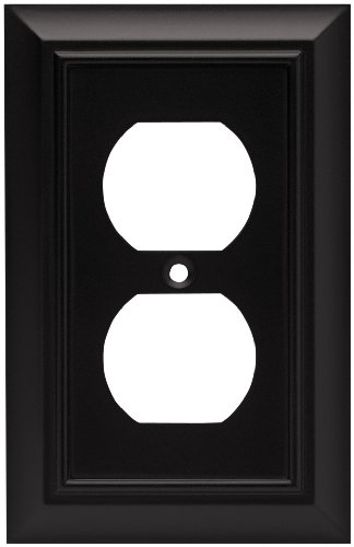 Fb Flat Black Accessories - Brainerd 64218 Architectural Single Duplex Outlet  Wall Plate / Switch Plate / Cover, Flat Black