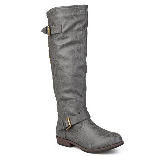 Leather Boots Gray - Journee Collection Womens Regular Sized and Wide-Calf Studded Knee-High Riding Boots Dark Grey, 9 Regular US