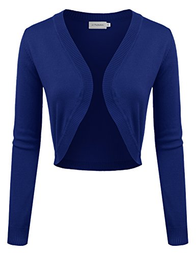 JJ Perfection Women's Cropped Open Front Long Sleeve Bolero Shrug Cardigan Royalblue L