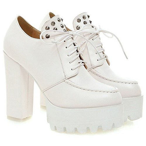 Boots Shoes White Classic Pumps Block LongFengMa Heeled Casual up Women British Lace 4xqEEaA