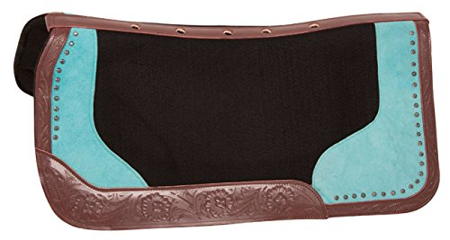 VENTILATED TURQUOISE WESTERN SADDLE PAD GEL INFUSED WOOL FELT NON SLIP BLANKET (HORSE) (Pad Wool Western)