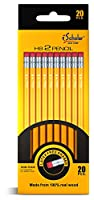 iScholar No. 2 Yellow Pencils with Erasers, 20 pack of Pencils, Yellow (33320)