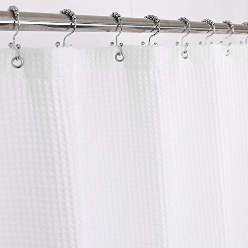 Barossa Design Fabric Shower Curtain Cotton Blend Extra Long 84 inch Height - Honeycomb Waffle Weave, Hotel Luxury, Heavy-Weight, Spa, Washable, White