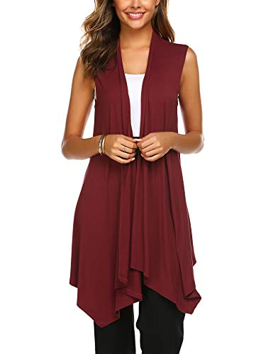 Beyove Women's Solid Color Sleeveless Asymetric Hem Open Front Cardigan Sweater Vest Wine Red M from Beyove