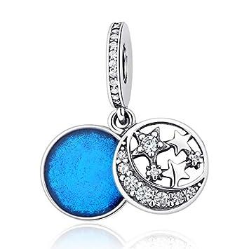 Calvas S925 Sterling Silver Original Blue Sky Fluttering Notebook Butterflies CZ Crystal Pendant Charm Beads Fit Bracelets DIY Jewelry Color: YW20707