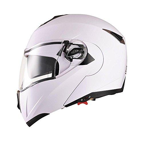 AHR Full Face Flip up Modular Motorcycle Helmet DOT Approved Dual Visor Motocross White M
