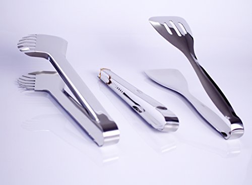 Joy Looker JT01 Premium 100% Stainless Steel Food Tongs Set of 3 Flatware Buffet Tongs 10 Inch Meat Tongs 9.5 Inch Salad Tongs 9.5 Inch Ice Tongs 5 Joy Looker food tongs set is made of 100% premium stainless steel,and its thickness is more than other food tongs you'd ever saw. Because it does not need to rely on the spring to work so it will never damaged,it is safe and very convinent to use and cleaning. Tooth shaped tong 10 inches, especially used to tong meat or noodles,salad tong 9.5 inches,Ice tong 9.5 inches.