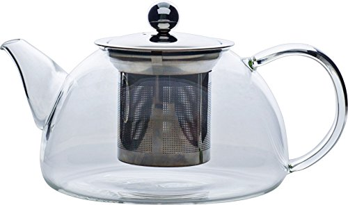One Glass Teapot - Redbird Artisan Small Glass Teapot with Stainless Steel Lid and Filter Basket - Microwave and Stovetop Safe Glass Tea Pot 600 mL/20 oz